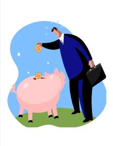 man put money in piggy bank