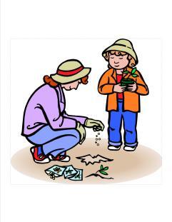 mom and girl planting seeds