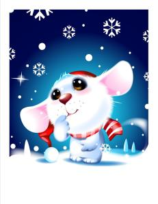 mouse and snowflakes