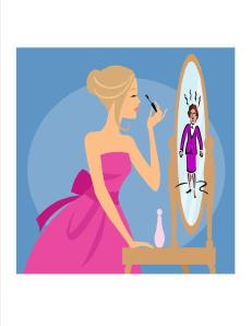 lady looking in mirror